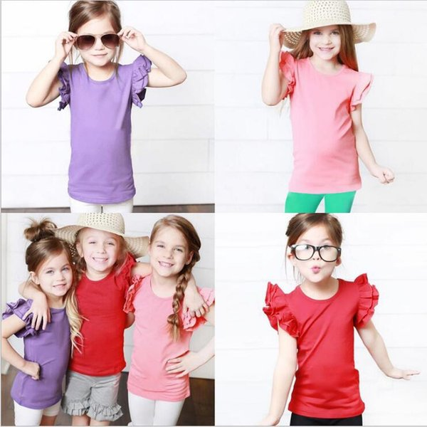 best selling Kids Clothes Baby Solid Ruffle T-shirts Girls Summer Sleeveless Tops Candy Street INS Shirts Cotton Casual Tees Fashion Sports Tanks B6174
