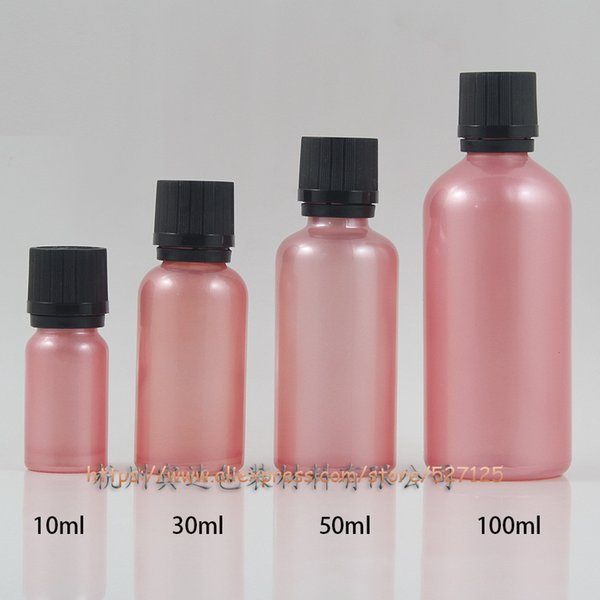 10ml 30ml 50ml 100ml pink(painted) glass bottle with child-resistant lid,for lotion/perfume/oli/moisturizer/facial water
