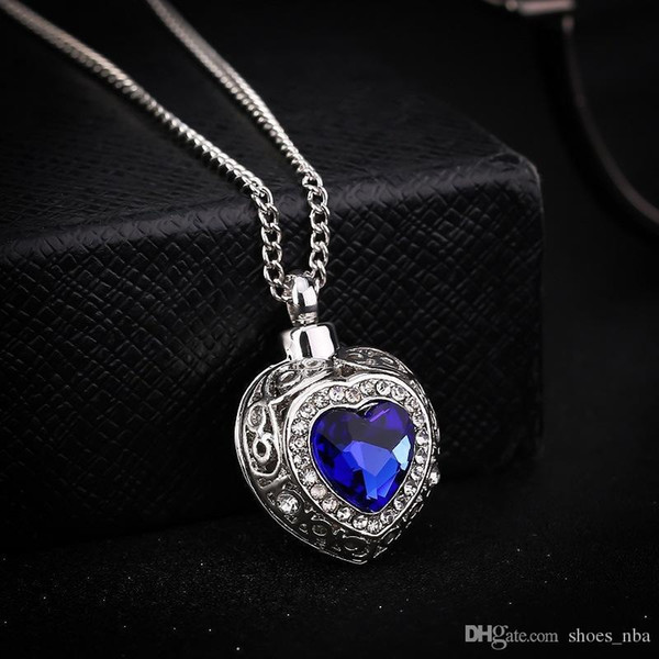 Nlm99 2018 Free Shipping Accessories Wholesale personality ocean heart blue Gemstone love urn necklace heart-shaped pendant X813