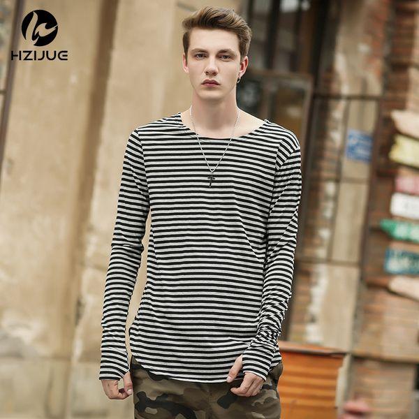 HZIJUE 2018 homens camisetas tyga hip hop ganhos listrados de manga longa camiseta estendida kanye homens oversized camiseta homme t camisa dos homens
