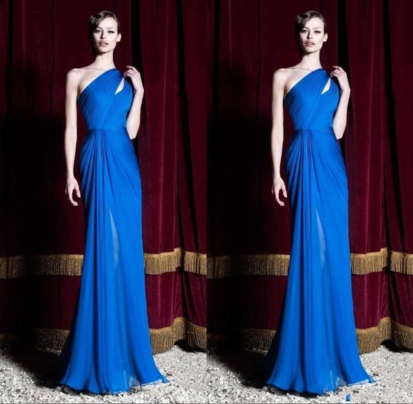 2019 nouveau royal bleu soirée robes de soirée une épaule plis soirée robes de bal d'étudiants fait sur commande livraison gratuite