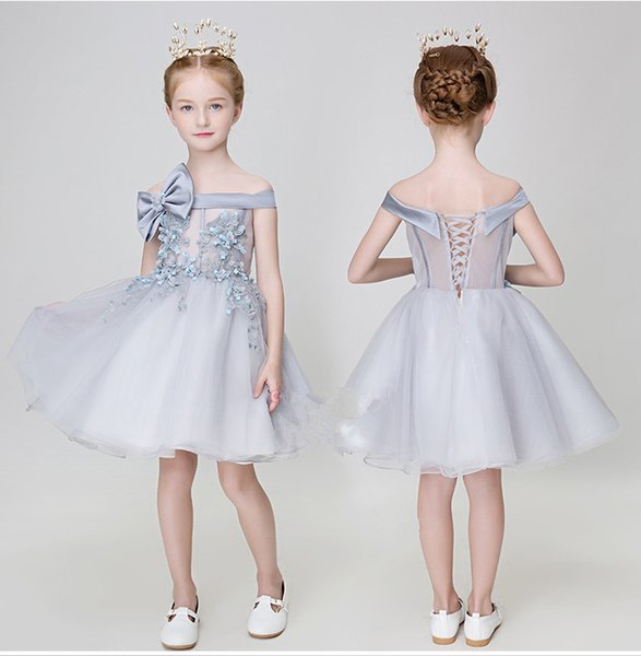 Cheap steel gray floral girl gown 2019 children's wedding gown Applique Bow ball gown first evening dresses