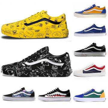 Kampüs Tarzı Erkek Kadın Tasarımcı Sneakers Sawtooth Doodling Siyah Sarı Kanvas Ayakkabılar Unisex Düşük üst eğitmenler Rahat Ayakkabılar Boyutu 36-44