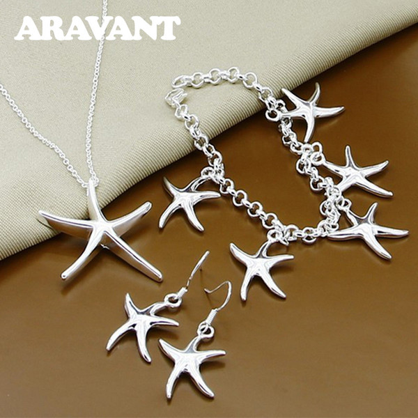 925 Silver Jewelry Sets Fashion Starfish Necklaces Drop Earrings Bracelets Women Bridal Jewelry