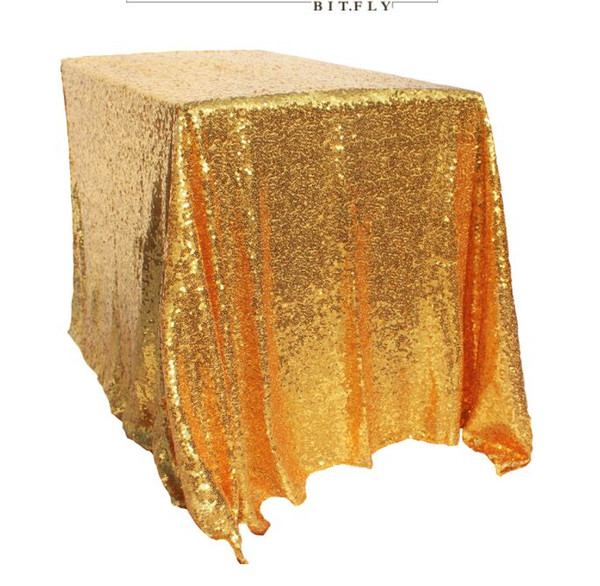 Table Cloth 228*335cm(with splice) Hotel wedding square tablecloth Gold silver champagne tablecloth Sequins PE party layout wedding props