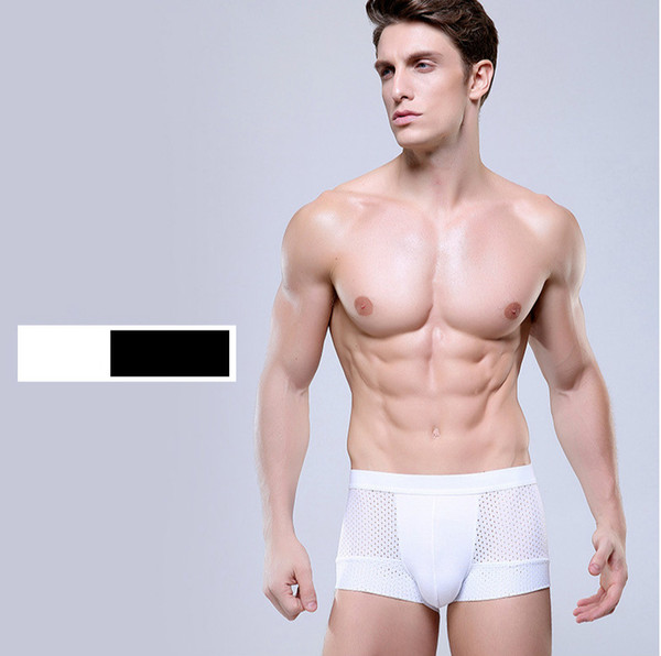 Mens Designer Underpants 2020 New Fashion Sexy Mens Hollow Out Boxers Men Brand Solid Color Breathable Underpants Top Quality for Wholesale