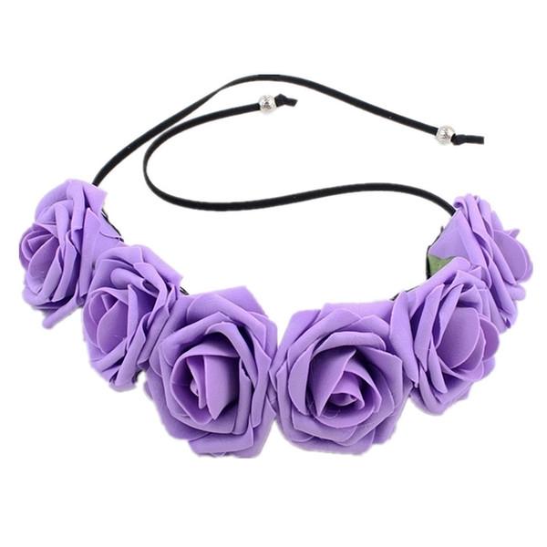 Bridal Foam Rose Flower Headdress Hair Wreath Headband Crown Headpiece for Wedding Party Festival