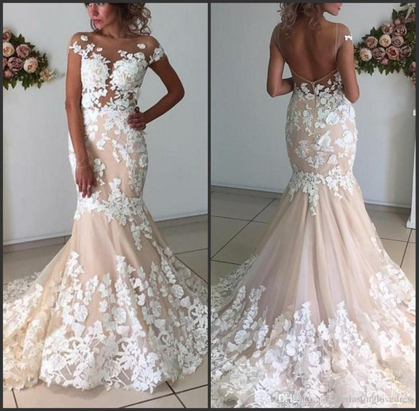 3D Lace Wedding Dresses 2019 Sexy Mermaid Illusion Neckline Short Sleeve Low Back Wedding Dress Bridal Gowns Sheer Bride Formal Gown
