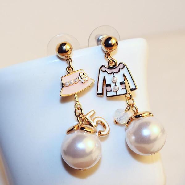 Yüksek kalite marka tasarım İmitasyon İnci küpe kadınlar için gül altın damla küpe zarif takı hediye 00578