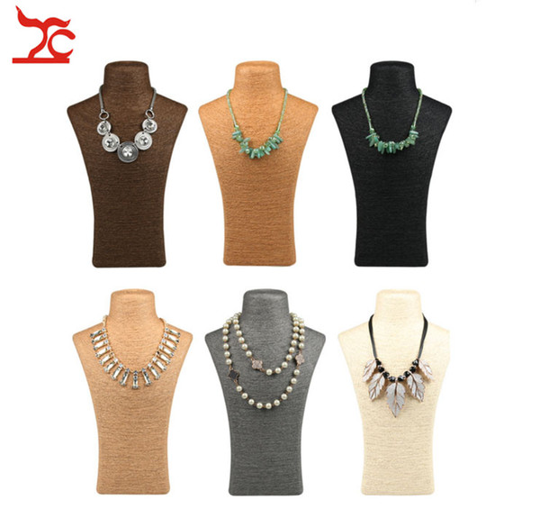 New Retro Hemp Rope Mannequin Bust Necklace Display Holder Window Store Necklace Ornament BIJOUX Organizer Neck Jewelry Stand Bust 1Pcs