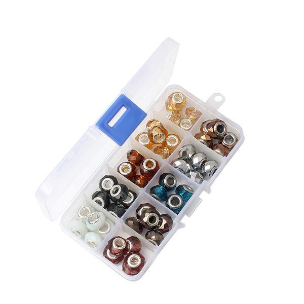 6 tipos de estilo definido de contas 50 contas grande buraco grânulos de Pandora pulseira DIY acessórios