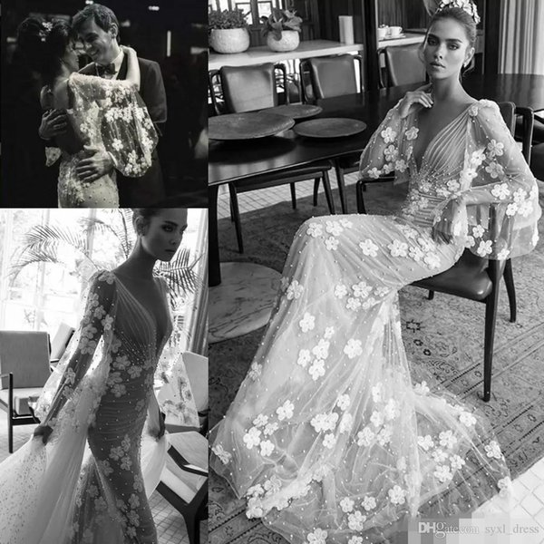 2019 Berta Beach Boho Mermaid Wedding Dresses With Long Puffy Sleeves Hand Made Flowers Sexy Keyhole Garden Bridal Gowns