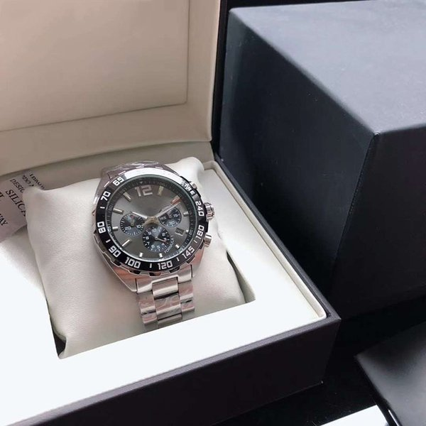 Die Armbanduhr der berühmten Männer importierte Quarz-Multifunktionsbewegung 43MM die Bewegung der schwarzen sechs-Stift Vorwahlknopf-316 Präzisions-Edelstahl-Uhr-Männer