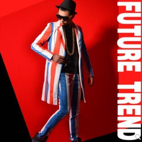 S-5XL 2019 New Male clothing fashion color Large stripe medium-long suit set DJ zhi-long style DS men Nightclub stage costumes