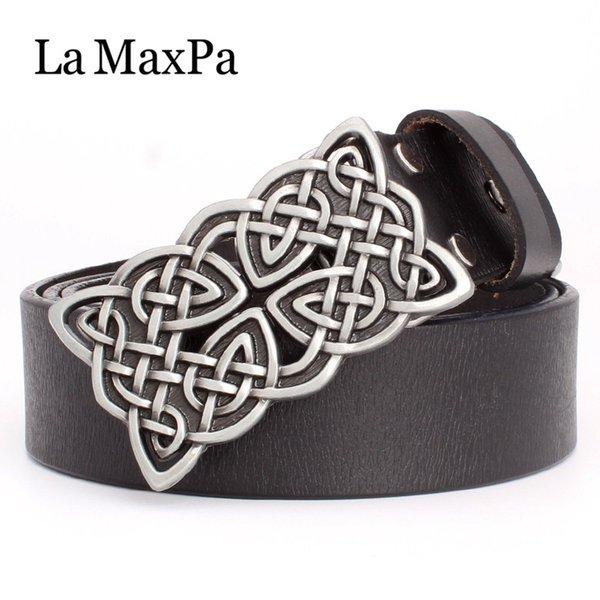 La MaxPa fashion women's belt genuine leather cowskin lady belt Celtic knot pattern silver buckle Woven knot for women