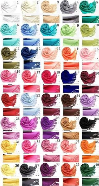 40 couleurs Hot Pashmina Cachemire solide châle Wrap femmes filles dames foulard écharpe solide franges