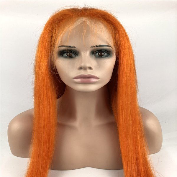 Yingcai Glueless Short Bob Orange Two Tone Color Lace Front Wig Pre Plucked Brazilian Human Hair Wigs with Baby Hair