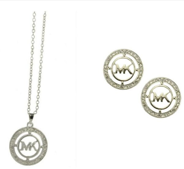 M letter gold silver octagonal diamond necklace pendant earrings jewelry two pieces jewelry set