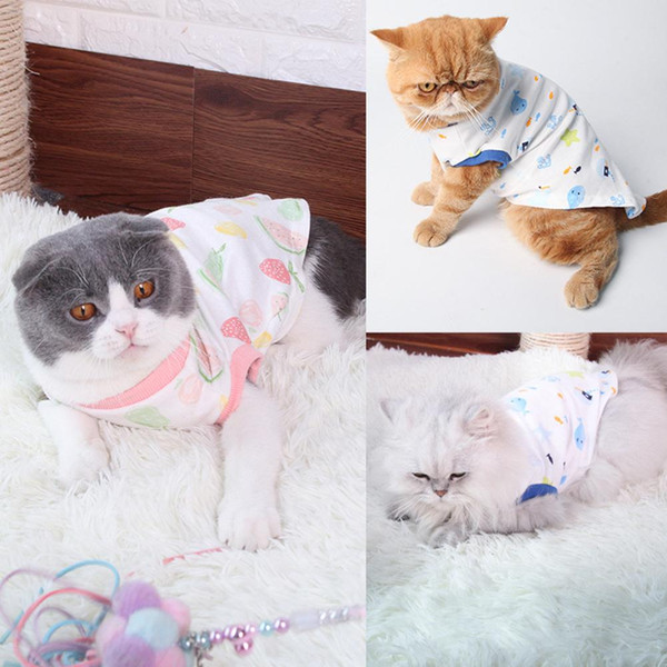 casual cat kitten spring autumn fruit print soft cotton vest t-shirt pet clothes #04
