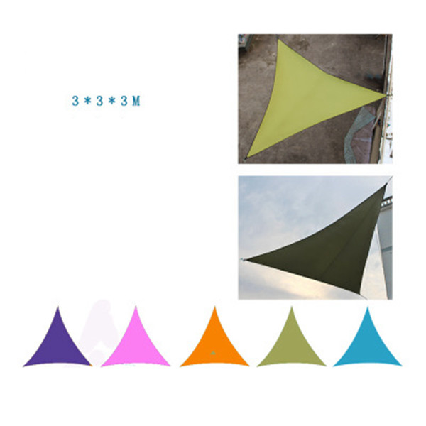 top popular 3*3*3M Sun Shelters Camping Tent Waterproof Triangle Sunshade Garden Patio Pool Shade Outdoor Canopy Sail Awning 6 Colors 30PCS ZZA947 2021