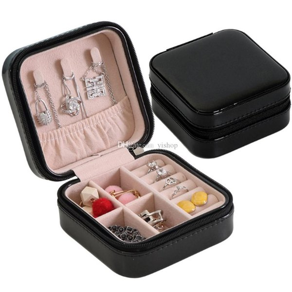 PU Single Layer Simple Jewelry Box Jewelry Box Princess Necklace Bracelet Earring Packaging & Display Boxes Ornaments Storage Xmas Gift