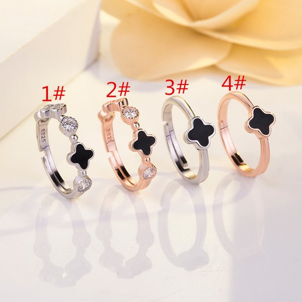 Open women's new network explosion lucky four-leaf clover ring s925 pure silver zircon jewelry factory direct selling