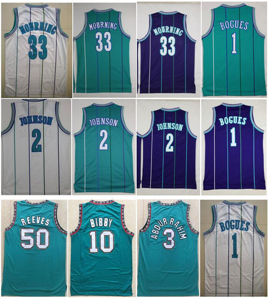 best selling Mens Best Quality Vintage 1 Tyrone Bogues Jersey 2 Larry Johnson jersey 33 Alonzo Mourning 3 Shareef Abdur Rahim 10 Mike Bibby 50 Reeves