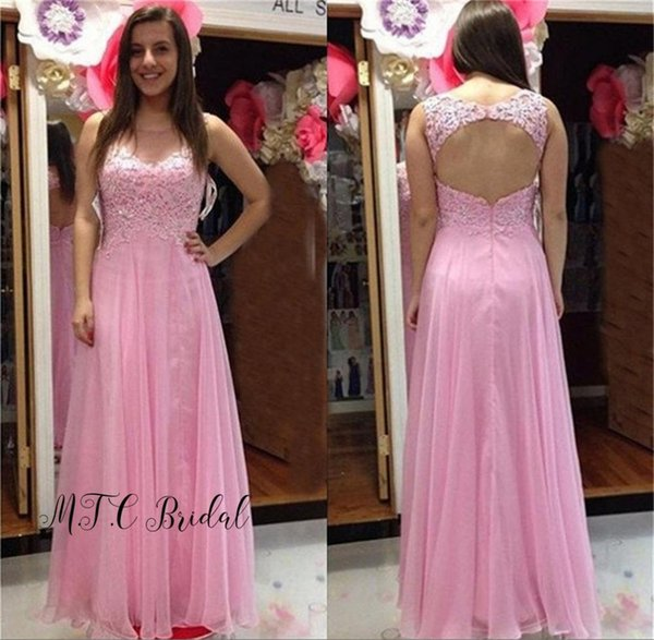 Lovely Pink Backless Evening Dress Graceful Lace Top A Line Chiffon Long Prom Gowns 2019 Hot Selling Women Wedding Party Dresses