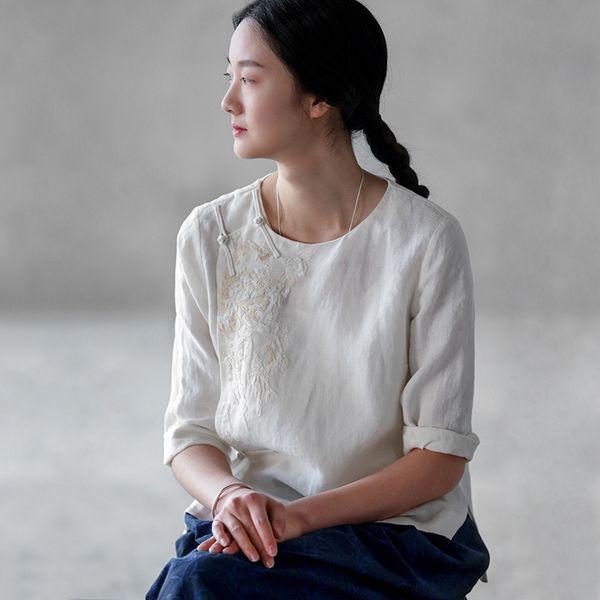 Retro de lino de algodón bordado a mano de estilo chino placa botón chaqueta chaqueta blanca femenina