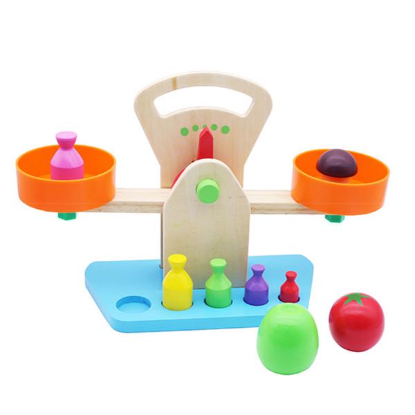 Brinquedo de madeira Nova balança balança Vegetal Pesando jogo interativo Percepção de Peso de Aprendizagem DIY criança crianças brinquedo educativo