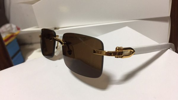 Wholesale-Rimless Luxury Glasses Buffalo Horn Glasses with Wood Frame Legs Mens Womens Sunglasses for Brand Designer Best Quality with Box