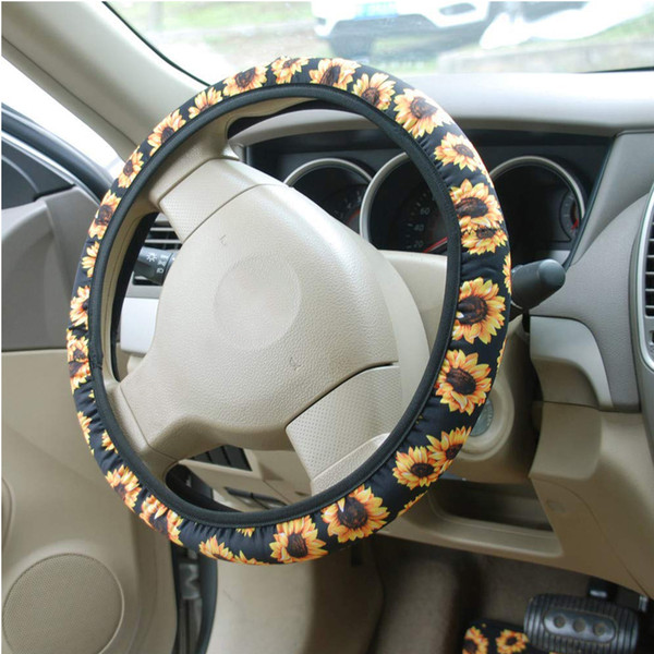 Astonishing Steering Wheel Cover Fashion Car Styling Floral Print Sweat Absorption Wear Resistant Cute Sunflower Stretchy Neoprene Non Slip Racing Steering Wheel Andrewgaddart Wooden Chair Designs For Living Room Andrewgaddartcom