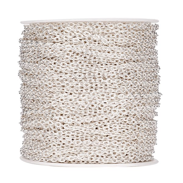 wholesale 100M/roll 4x3x1mm Oval Silver Color Iron Cross Textured Cable Chain For Bracelet Necklace DIY Jewelry Making Findings