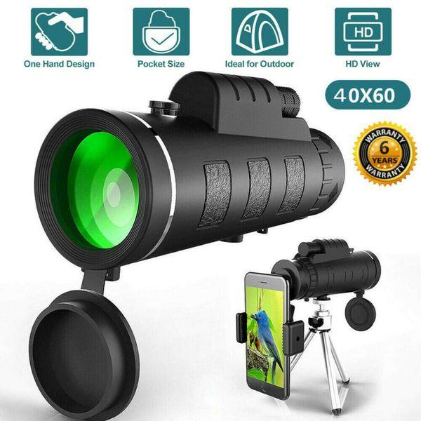 유니버설 전화를위한 새로운 스타일의 40X60 광학 줌 HD 렌즈 단안 망원경 삼각대 클립