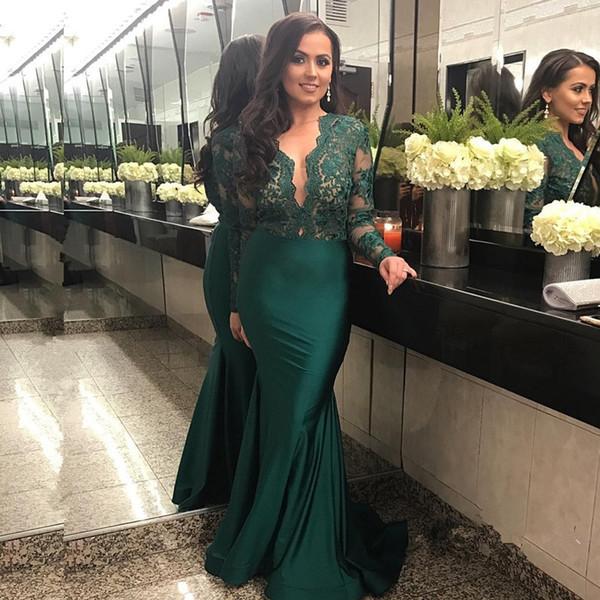 Elegant Long Sleeves Lace 2018 Long Prom Dress Dark Green V Neck Mermaid Satin Women\'s Party Evening Dresse