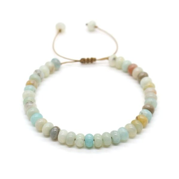 Cute Bear Natural Amazonite Stone Abacus Beads Bracelet Leather Rope Beaded Adjustable Bracelets For Women Couple Jewelry Gift
