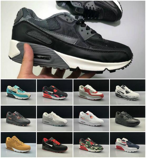 cheaptnshoes / 2019 Sneakers Schuhe klassische 90 Männer und Frauen Laufschuhe Schwarz Rot Weiß Sport Trainer Luftpolster Oberfläche Atmungsaktive Sportschuhe 36