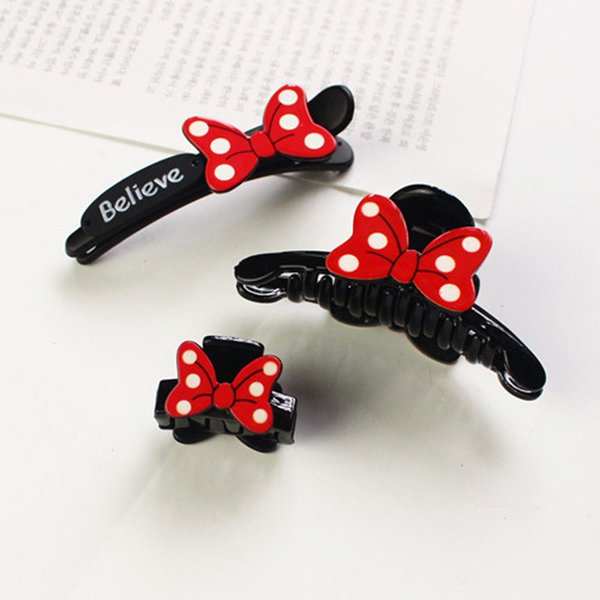 1PC Cute Fashion Personality Red Bow Clip Duckbill Hair Pins Hair Accessories Girls Baby Side Clips Beautiful Lady Headdress