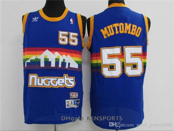 newest adbf4 77ed4 2019 2019 Denver Basketball Nuggets Jersey #55 Dikembe Mutombo #3 Allen  Iverson 15 Nikola Jokic #2 Alex English Stitched Basketball Jersey From ...
