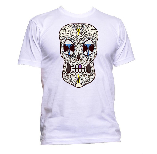 Sugar Skull Grey Coloured With Hourglass Design T-Shirt Mens Womens Unisex Gift Brand shirts jeans Print