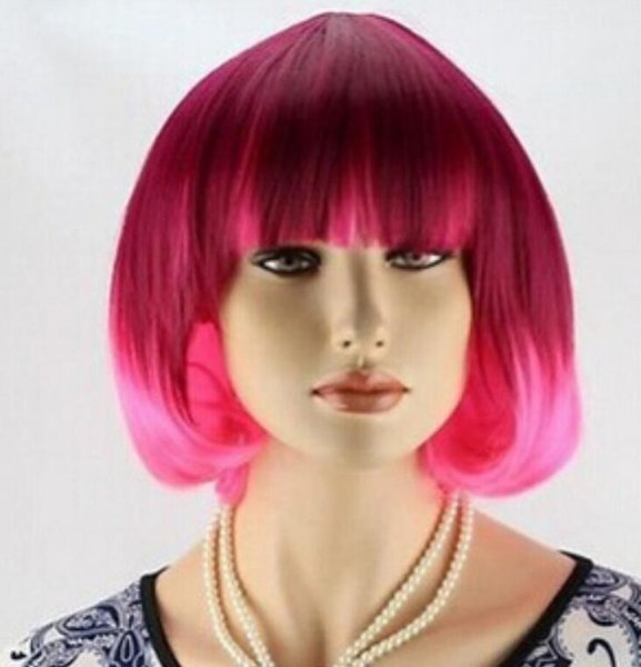 WIG Free Shipping Details about Dark red and pink short full wig brand new wig with durable hair net