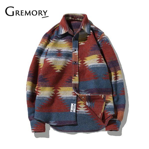 Camisas Folk-personalizados para el vestido de lana hombres patrón de la vendimia libre camisa de los hombres ocasionales más el tamaño de Calle Chemise Homme franela