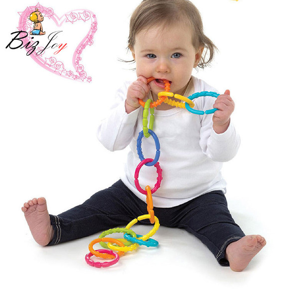 baby toys 0-12 HOT 6pcs/set Baby toys 0-12 months Rainbow QQ kids molars ring teether Activity teddy chain clutch ring apron Squishy