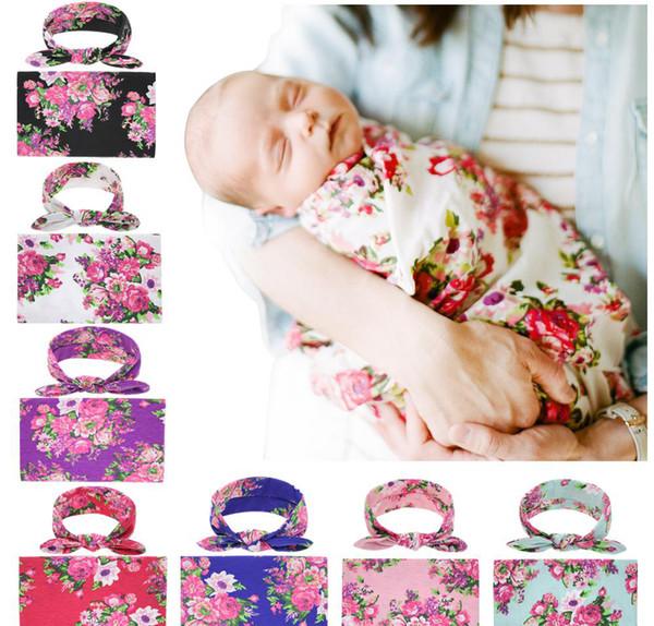 2019 Newborn Baby Swaddling Blankets Bunny Ear Headbands Set Swaddle Photo Wrap cloth Floral peony Pattern Baby photography