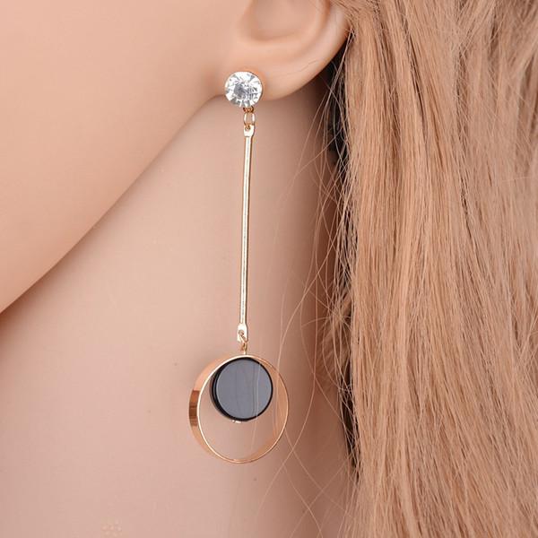 Korean Fashion Geometrische Lange Asymmetrie Ohrring Strass Kreis Ohrstecker Neue Acryl Große Ohrringe Bijoux Brincos E8015