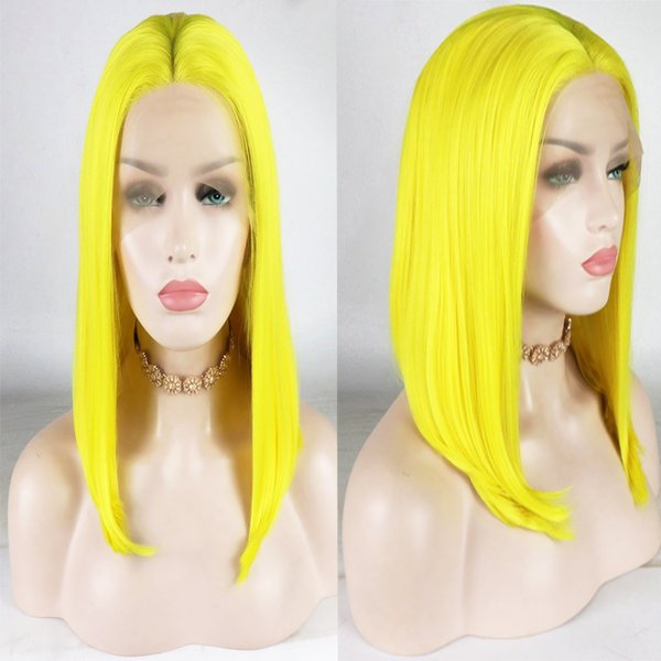 Sexy Glueless Yellow Green Grey Purple Color Short Bob Straight Synthetic Lace Front Wig Heat Resistant Fiber Cosplay Party Wigs For Women