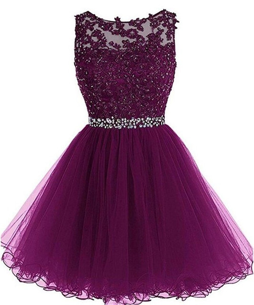 top popular Elegant Crew Neck Lace A Line Homecoming Dresses Tulle Applique Beaded Short Prom Dresses Mini Skirt A Line Party Graduation Gowns 2020