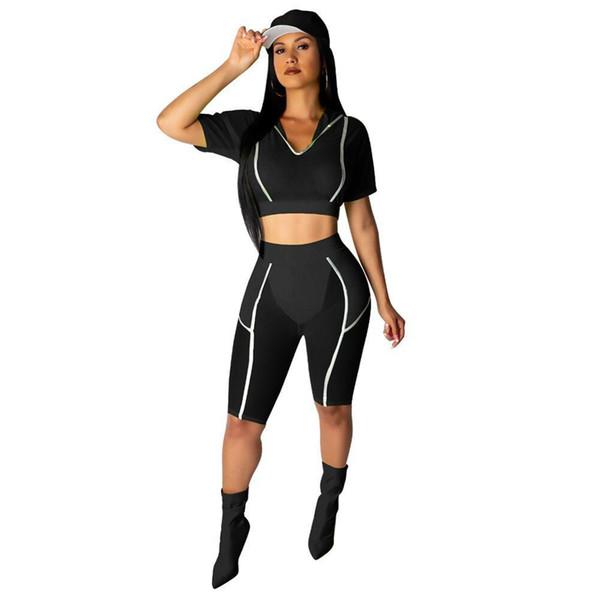 Siyah / Kırmızı / Yeşil Şeffaf Mesh Patchwork Stil Kadın İki Adet Set Yansıtıcı Çizgili Moda Kapüşonlu Mahsul Tops Diz Pantolon Set Çevrimiçi