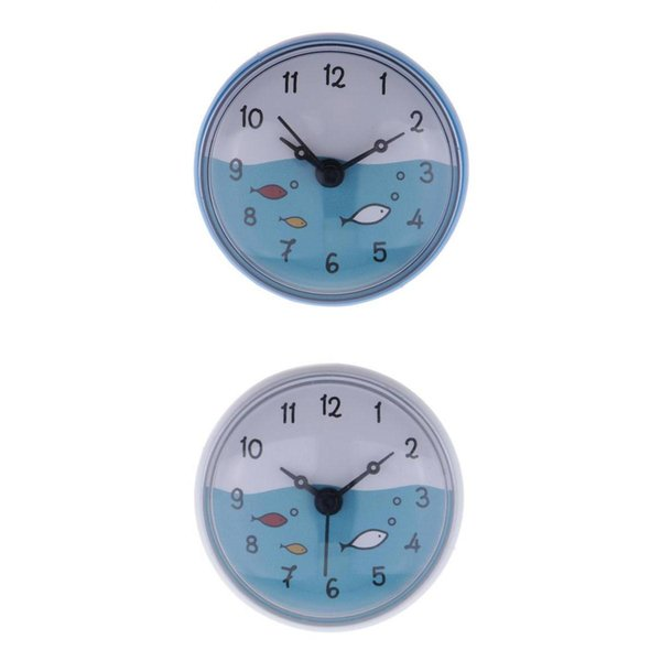 top popular 2x Shower Clock Kitchen Silicone Wall Suction Clock For Mirror Windows 2021