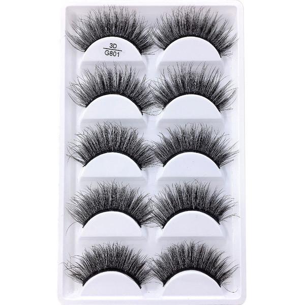 5 paires / set Faux Cils 5 Paires 3D Naturel Longs Faux Cils G801 Outils de Maquillage À La Main, Accessoires 100pcs avec livraison gratuite